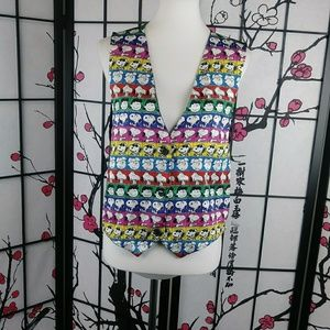 Vtg Peanuts Vest Snoopy Rainbow Waistcoat Pop Art